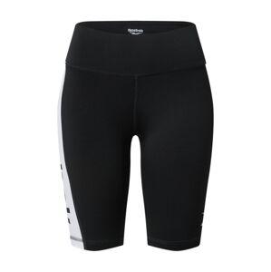 REEBOK Športové nohavice  biela / čierna