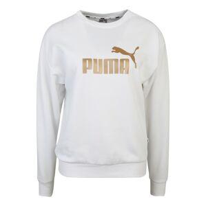 PUMA Športová mikina 'ESS+ Metallic '  zlatá / biela