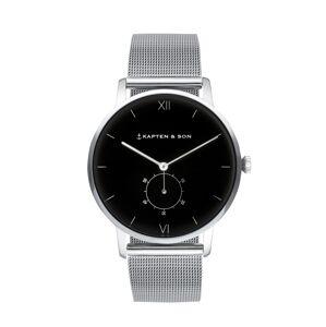 Kapten & Son Analógové hodinky 'Heritage'  čierna / strieborná