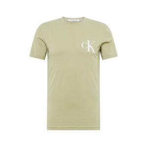 Calvin Klein Jeans Tričko  svetlozelená / sivá / biela