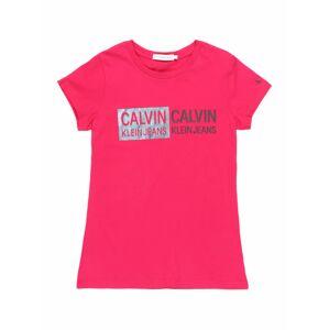 Calvin Klein Jeans Tričko 'STAMP LOGO SLIM FIT'  ružová
