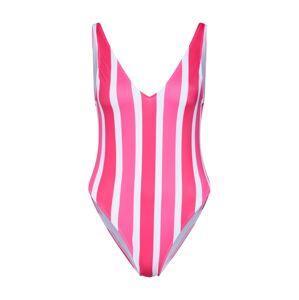 Hunkemöller Jednodielne plavky 'Candy Stripes'  ružová / biela