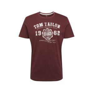 TOM TAILOR Tričko  biela melírovaná / vínovo červená