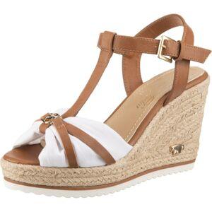 TOM TAILOR Remienkové sandále  žltohnedá / biela