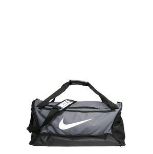 NIKE Športová taška 'BRSLA M DUFF - 9.0'  sivá / čierna / biela