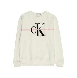 Calvin Klein Jeans Mikina  ružová / čierna / biela ako vlna