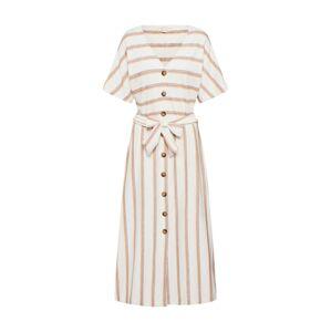 ESPRIT Košeľové šaty  biela / béžová