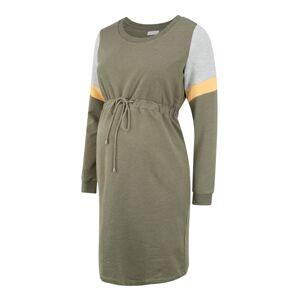 MAMALICIOUS Šaty  olivová / sivá melírovaná / žltá