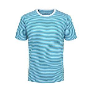 SELECTED HOMME Tričko  nebesky modrá / biela