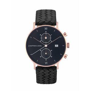 Kapten & Son Analógové hodinky 'Chrono Woven'  čierna / ružové zlato
