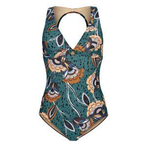 Skiny Jednodielne plavky 'Flores'  zmiešané farby / zelená