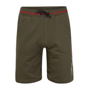 Tommy Hilfiger Underwear Nohavice 'LWK'  tmavozelená / biela / červená