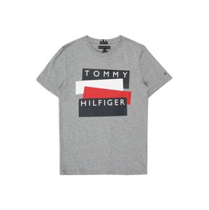 TOMMY HILFIGER Tričko 'TOMMY HILFIGER STICKER TEE S/S'  sivá melírovaná