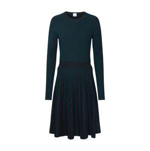 BOSS Pletené šaty 'Illoran'  čierna / tmavozelená
