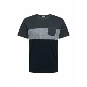 TOM TAILOR Tričko  tmavomodrá / modrosivá / sivá melírovaná