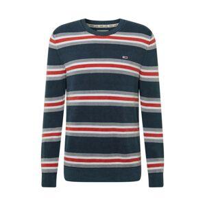 Tommy Jeans Sveter  červená / námornícka modrá / biela / sivá
