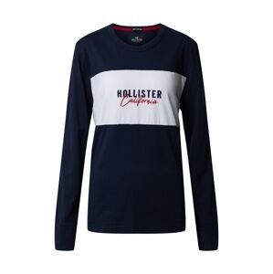HOLLISTER Tričko  biela / námornícka modrá