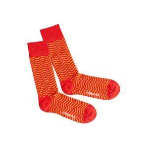 DillySocks Ponožky 'Square Sunset'  červená / žltá / oranžová
