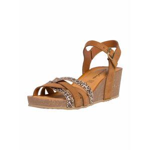TAMARIS Remienkové sandále  koňaková / sivá