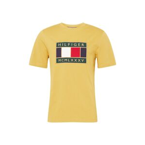 TOMMY HILFIGER Tričko 'GLOBAL'  zlatá / biela / tmavozelená / námornícka modrá / červená