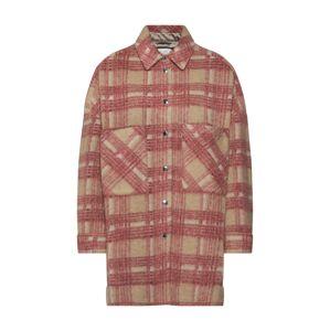 SECOND FEMALE Prechodná bunda 'Aron Shirt Jacket'  červená / béžová
