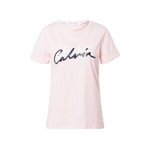 Calvin Klein Jeans Tričko  ružová / čierna / biela