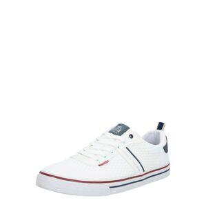 MUSTANG Športové šnurovacie topánky  biela / tmavočervená / námornícka modrá